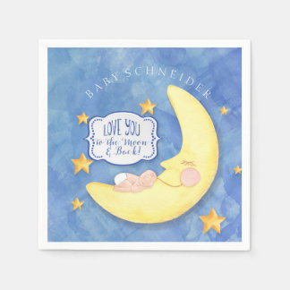 Baby Shower To The Moon and Back Stars Typography Napkin