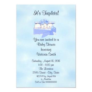 Baby Shower Triplets Baby Boy Card