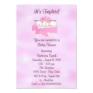 Baby Shower Triplets Baby Girl Card