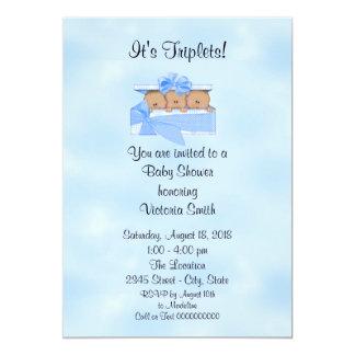 Baby Shower Triplets Ethnic Baby Boy Card