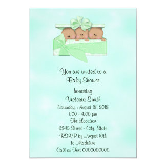 Baby Shower Triplets Ethnic Baby Gender Neutral Card