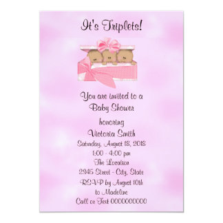 Baby Shower Triplets Ethnic Baby Girl Card