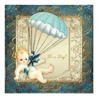 Baby shower turquoise de garçons de bleu et d'or carton d'invitation  13,33 cm