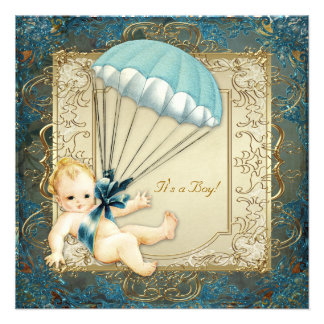 Baby shower turquoise de garçons de bleu et d'or invitation