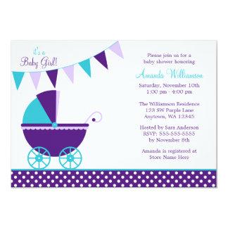 Baby shower turquoise pourpre foncé de chariot carton d'invitation  12,7 cm x 17,78 cm