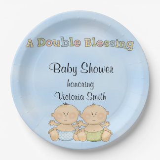 Baby Shower Twin Boys Paper Plate