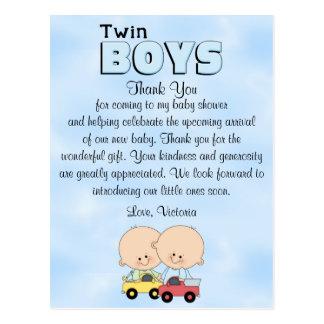 Baby Shower Twin Boys Postcard