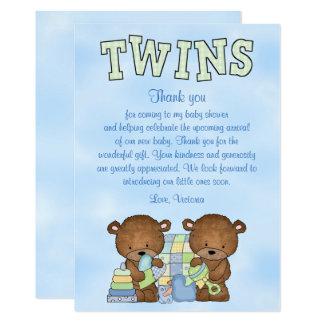 Baby Shower Twin Boys Teddy Bear Card