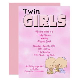 Baby Shower Twin Girls Card