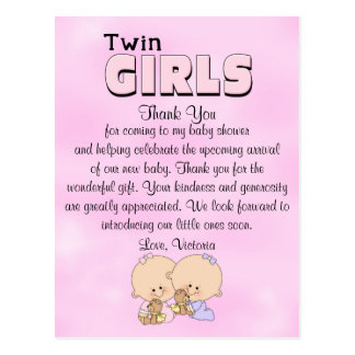 Baby Shower Twin Girls Postcard