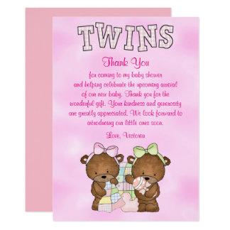 Baby Shower Twin Girls Teddy Bear Card