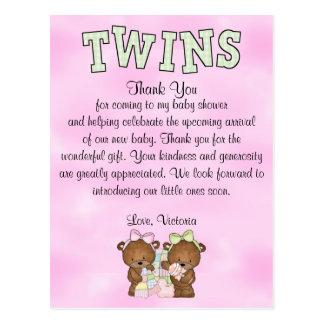 Baby Shower Twin Girls Teddy Bear Postcard