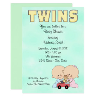 Baby Shower Twins Boy Girl Card