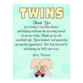 Baby Shower Twins Boy Girl Postcard
