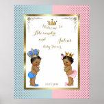 "Baby Shower TWINS,pink&blue,elegant,16""x20"" 300pp Poster"
