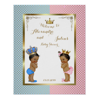 "Baby Shower TWINS,pink&blue,elegant,16""x20"" 300pp Poster"