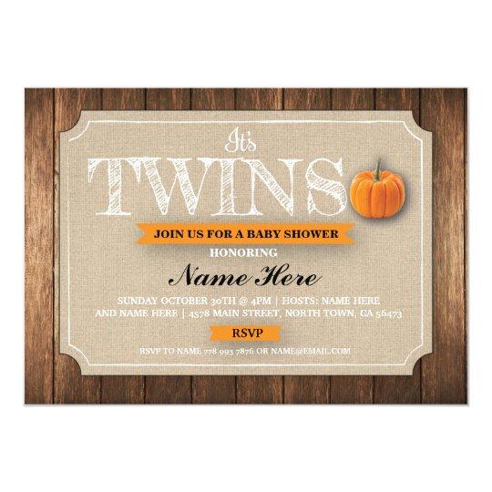 Baby Shower Twins Pumpkin Burlap Fall Invite