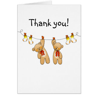Baby shower twins thank you card