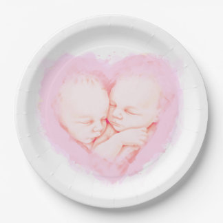 Baby Shower Twins Watercolor party Paper Plates 9""