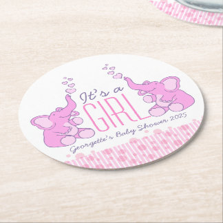 Baby shower two elephants it's a girl coasters