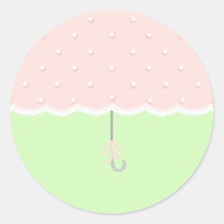 Baby Shower Umbrella Classic Round Sticker