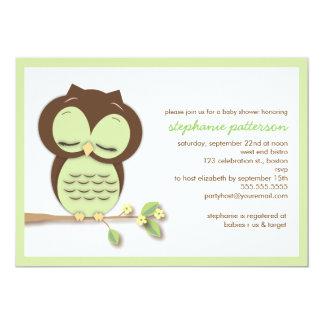 Baby shower vert somnolent doux de neutre de hibou carton d'invitation  12,7 cm x 17,78 cm