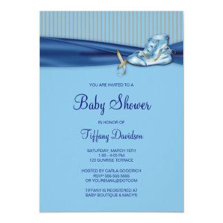 Baby shower vintage bleu de garçon de chaussure de carton d'invitation  12,7 cm x 17,78 cm