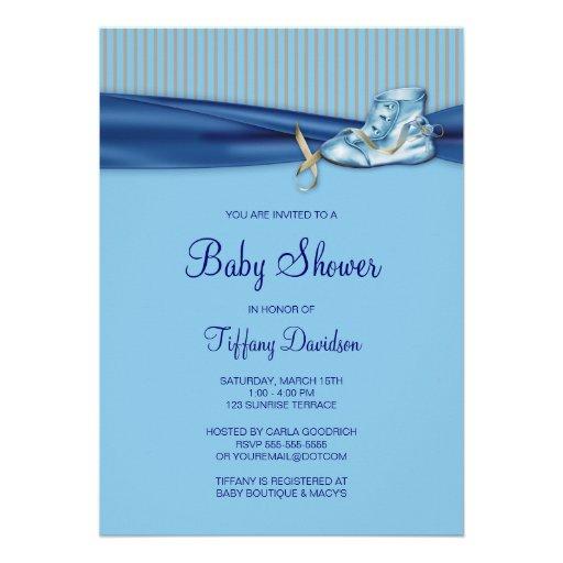 Baby shower vintage bleu de garçon de chaussure de invitations personnalisées