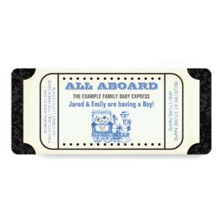Baby shower vintage de billet de train carton d'invitation  10,16 cm x 23,49 cm