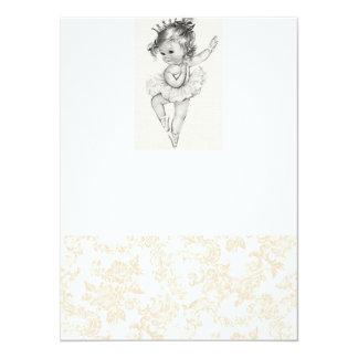 Baby shower vintage de fille carton d'invitation  13,97 cm x 19,05 cm