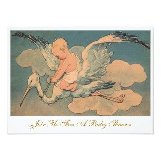 Baby shower vintage de genre de cigogne et de carton d'invitation  13,97 cm x 19,05 cm