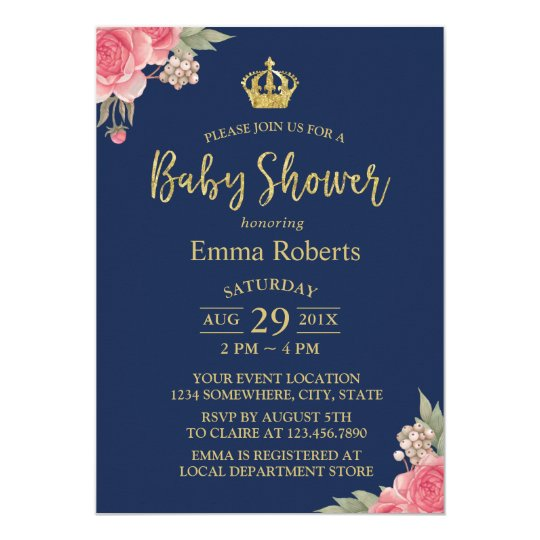 Baby Shower Vintage Floral Gold Crown Elegant Navy Card