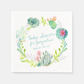 Baby Shower Watercolor Art Cactus Succulent Desert Paper Napkin
