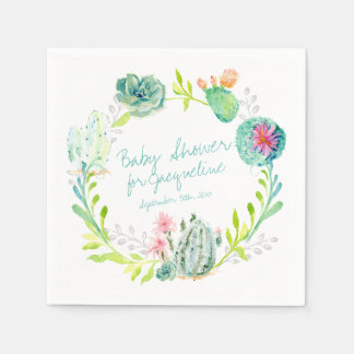 Baby Shower Watercolor Art Cactus Succulent Desert Paper Napkins