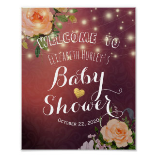 Baby Shower Welcome Burgundy Floral String Lights Poster