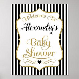 Baby Shower Welcome Sign Black Gold Elegant