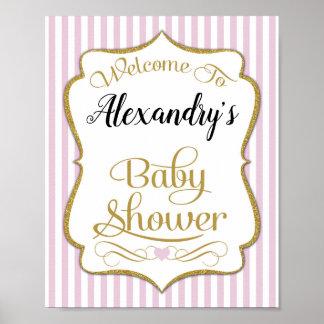 Baby Shower Welcome Sign Pink Gold Elegant