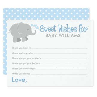 Baby Shower Wish Cards | Blue and Gray Elephant