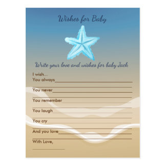 Baby Shower Wish Game- Beach Theme Postcard