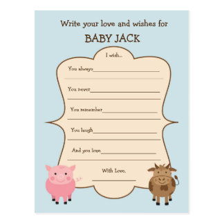 Baby Shower Wish Game- Farm Animal Theme Postcard