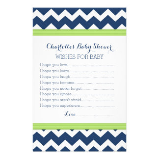 Baby Shower Wishes for Baby Lime Blue Chevron Stationery