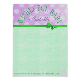 Baby Shower Wishes for Baby Poster Keepsake Purple