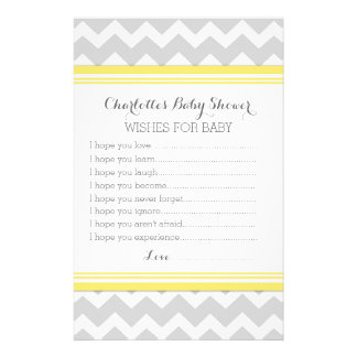 Baby Shower Wishes for Baby Yellow Chevron Custom Stationery