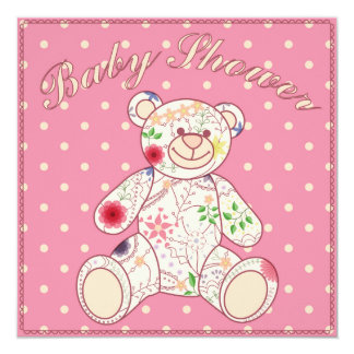 "Baby shower with bear toy pink 5.25"" square invitation card"