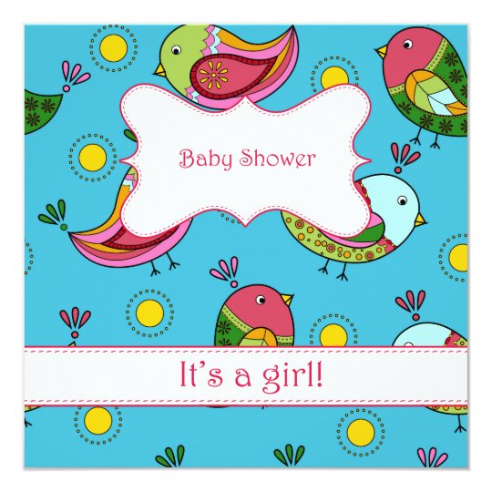 Baby shower with birds card