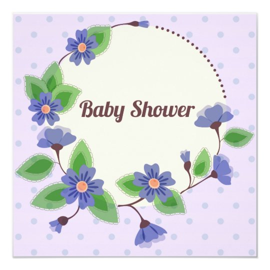 Baby shower with floral frame blue card