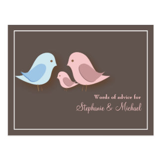 Baby Shower Words of Advice Card Lovebird Family