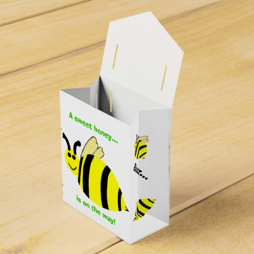 Baby Shower Yellow Bumble Bee Black Bow Thank You Party Favor Box