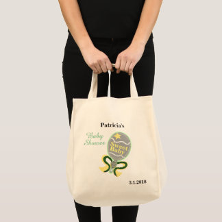 Baby Shower Yellow Green Baby Rattle Tote Bag