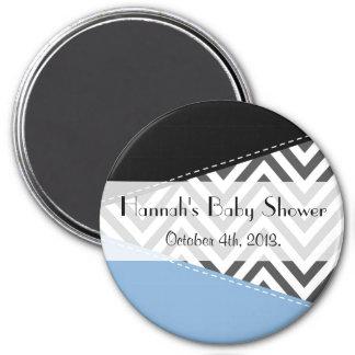 Baby Shower - Zigzag Pattern, Chevron - Gray Blue 3 Inch Round Magnet